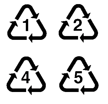 plastic recycling codes 1, 2, 4 and 5
